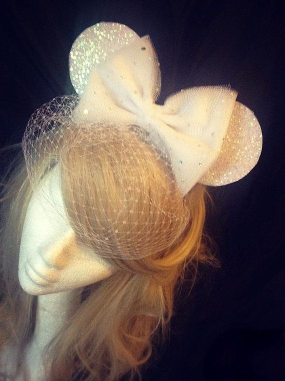 Vintage Disney Minnie Mouse Ears with Hair Bow Sparkle Disney Ears Bridal Minnie Ears Disney Wedding Bridal Shower Hen Party Bird Cage Veil