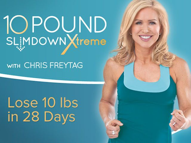 10 Pound Slimdown Xtreme by Chris Freytag. 10 Pound Slimdown Xtreme is a 28-day advanced training system separated into four weeks of total body, upper body, core, and lower body workouts. By target toning each muscle group with isolated styles of training you shake up your muscle memory each week for faster results!