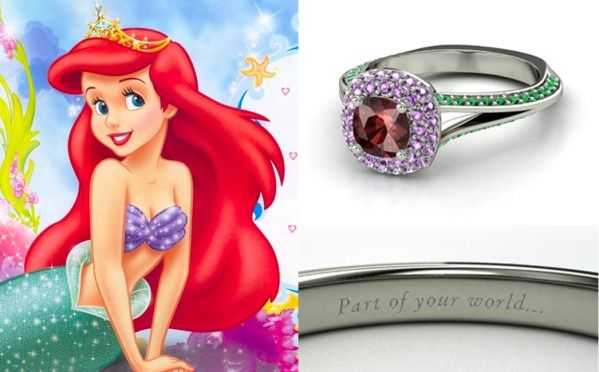 Which Disney Engagement Ring Are You? - Look at this Ariel inspired ring...neat!