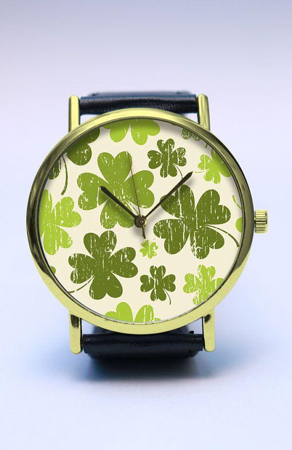 GOODLUCK Handmade Watch, Lucky Four Leaf Clover Watch, Vintage Style Leather Watch, Boyfriend Watch, Unisex Watch, Leather Watch Jewelry
