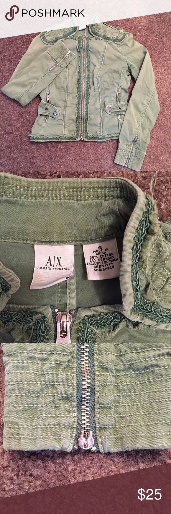 Armani Exchange Green Military Style Jacket One of the sleeves has a missing zipper pull but the zipper itself is still functioning. Otherwise jacket is in great condition. It does run a little snug and form fitting. Armani Exchange Jackets & Coats