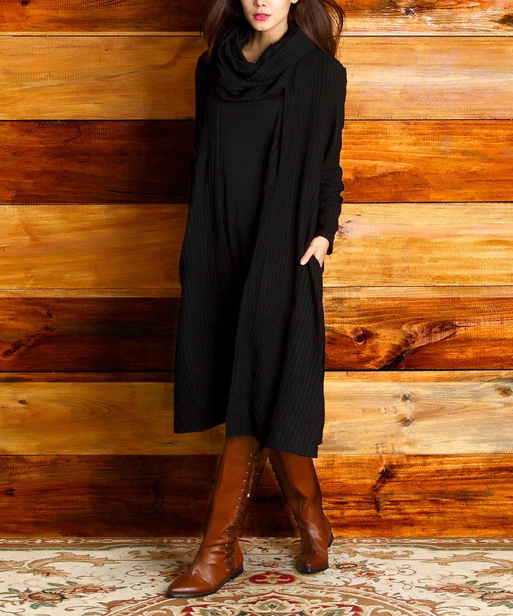 Look at this Black Ribbed Knit Open Duster on #zulily today!
