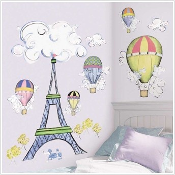 New GIANT EIFFEL TOWER WALL DECAL MURAL Hot Air Balloons Clouds Nursery Stickers on eBay!