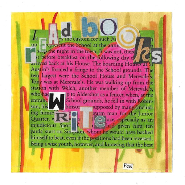 """Read Books"" by Tiina from Finland for ""Book is a friend"" mail art call in Russia http://www.tiinafromfinland.com/mail-art/read-books-russia/ #mailart #collage #alteredbookpages"