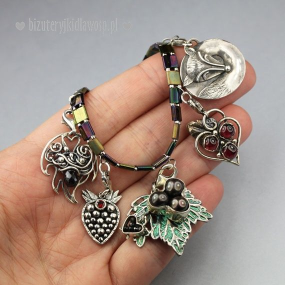 "Silver bracelet with charms ""Leśna polana"" 2016. My fox is there :D #BizuteryjkiDlaWOSP #AMADE"