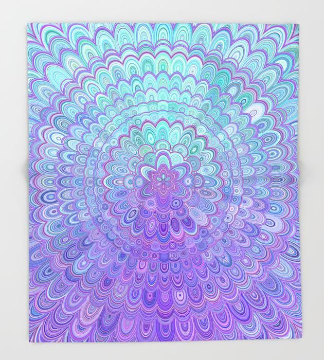 SOLD in my Society6 store: Mandala Flower in Light Blue and Purple Throw Blanket by David Zydd  #gifts #society6art #xmasgiftideas