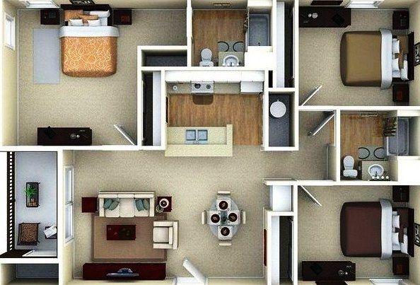 Desain Rumah Minimalis 1 Lantai 3 Kamar Tidur Modern 12 Di 2019