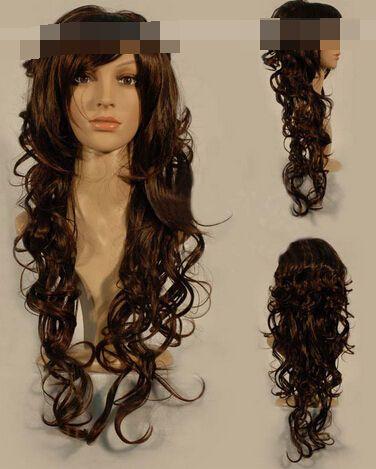 Кк 004455 Новый стиль мода длинные каштановые волосы парики для женщин парик