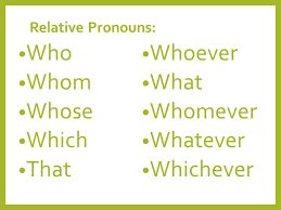 Image result for list of relative pronouns