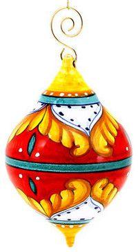 Christmas Ornament: Red Pia Design - Drop Ball Medium mediterranean-christmas-ornaments