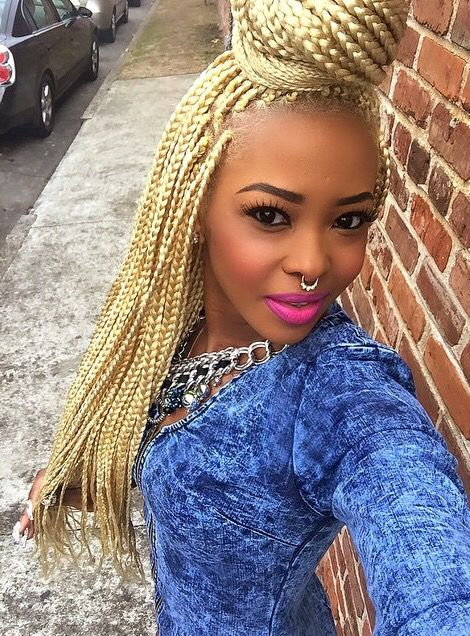 Blonde Box Braids Extensions Plaits Hair Hairstyle African American Beautiful Black Women Culture Pretty Girl Swag Flawless Makeup
