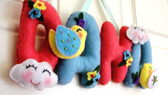 Personalized felt name banner by DMLcraft on Etsy