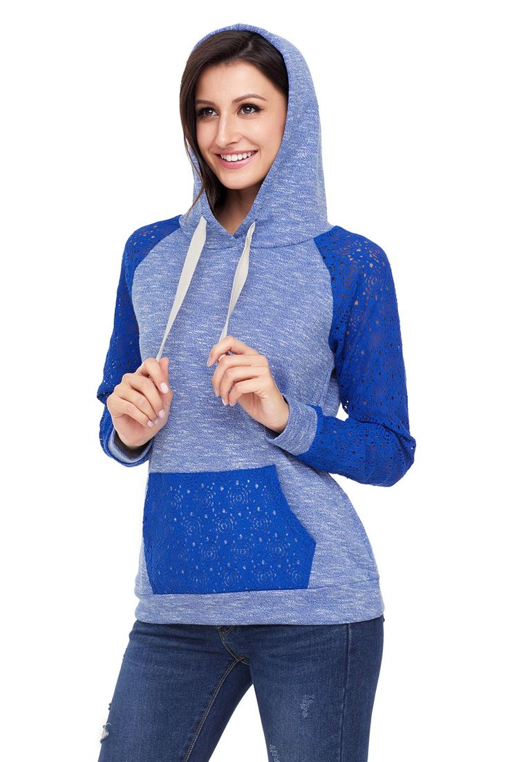 Royal Blue Lace Accent Kangaroo Pocket Womens Hoodie