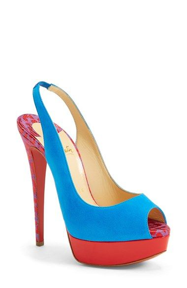 Women\u0026#39;s Christian Louboutin Peep Toe Slingback Pump, 5 1/2\u0026quot; heel ...