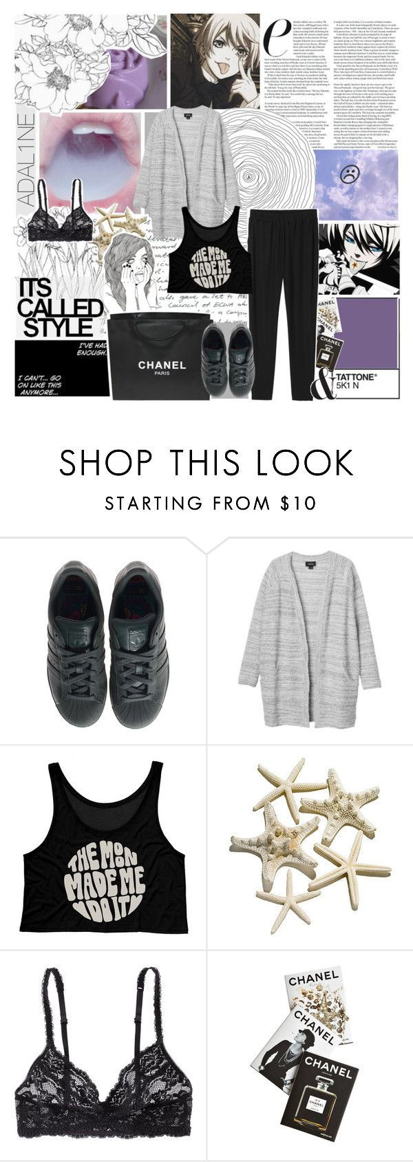 """""""my heart was entwined in a spider web. """" by pearliemoon ❤ liked on Polyvore featuring adidas, Monki, H&M, Assouline Publishing and Chanel"""