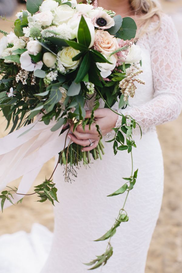 Stunning green and white wedding bouquet from @bandbdesigns, Elise Events and Gagewood Photo.