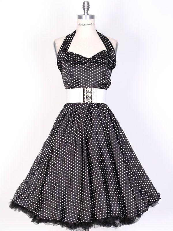 swing dress pattern | 50s SmallWhiteDot/Black Polka Dot Swing Satin Dress-UK Free Ship ...