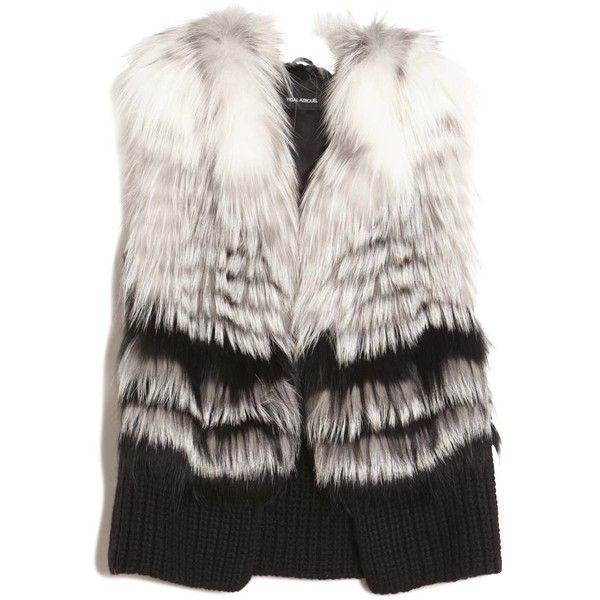Yigal Azrouël Fox Fur Vest (54,685 MXN) ❤ liked on Polyvore featuring outerwear, vests, striped vest, fox vest, fox fur vest, vest waistcoat and yigal azrouÃ«l