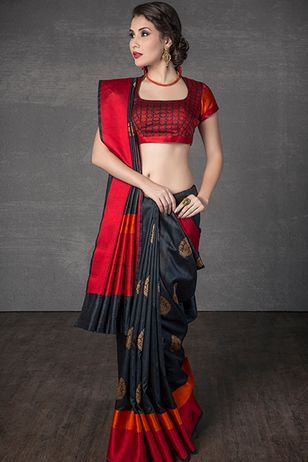 Handloom saree weaved in tussar silk: very pretty sari and striking color combination