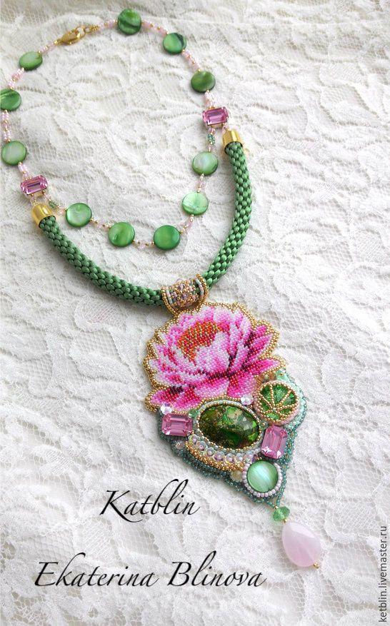 """Купить Кулон """"Кувшинка"""" - розовый, зеленый, цветок, ручная работа, украшения ручной работы"""