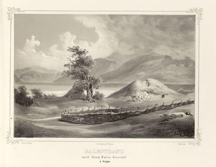 Norge fremstillet i Tegninger - Thomas Fearnley - Balestrand med Kong Beles Gravhöi i Sogn. jpg (4896×3800