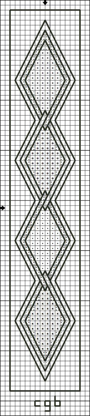 Free Bookmark Counted Cross Stitch Patterns - Free Printable Charts: Free Diamond Border Cross Stitch Pattern