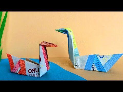 Geldscheine falten: Schwan - Idee zum Geld falten - Origami Vogel zum Ge...