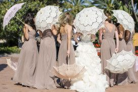 Long Taupe Bridesmaids Dresses... Absolutely LOVE the lace umbrellas