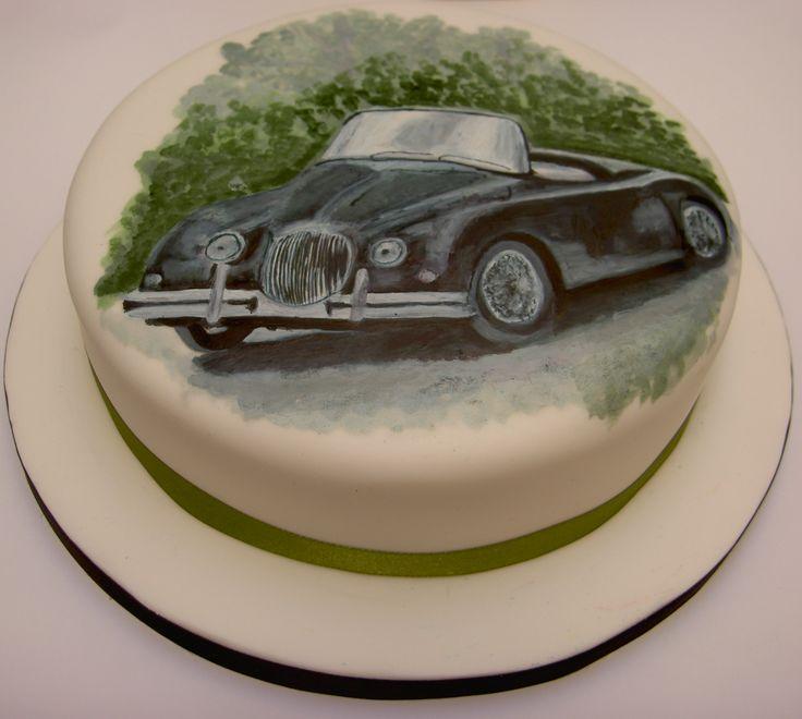 Jaguar xk150 hand painted cake