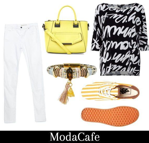 Białe jeansy - jak je nosić wiosną?  Z czernią - to zestaw awaryjny. Żeby nie było nudno, warto zatroszczyć się o kolorowe dodatki. Białe jeansy wymagają trochę barwnego polotu.  Więcej na Moda Cafe!
