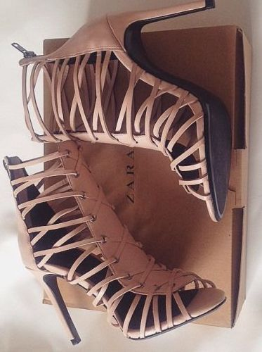 lace-up shoes | nude zara