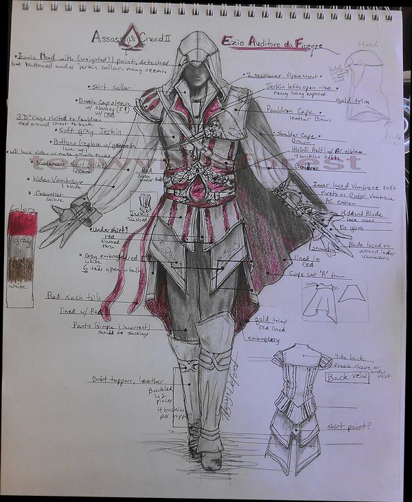 Assassin's Creed Ezio costume planning by TegwynDeForest