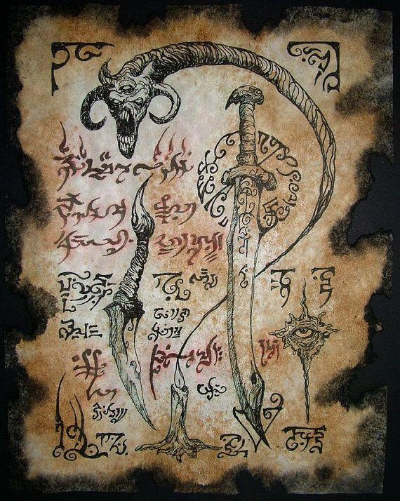 DEMON SWORD Cthulhu larp Necronomicon Scrolls dark occult witchcraft magick