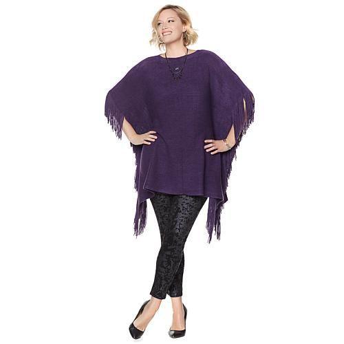 Melissa McCarthy Seven7 Convertible Fringe Poncho - Purple