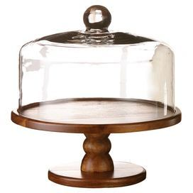 "Display cakes and cookies in style with this eye-catching cake stand, showcasing a turned pedestal base and glass cloche.  Product: Cake plate and domeConstruction Material: Glass and woodColor: Clear and natualFeatures: Lid keeps food freshDimensions: 10.25"" H x 9"" DiameterCleaning and Care: Hand wash"
