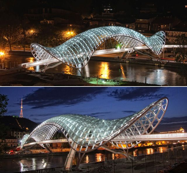 The Bridge of Peace - Tbilisi, Georgia;  pedestrian bridge designed by Michel De Lucchi and Philippe Martinaud;  opened in 2010;  has a 492 feet long  canopy roof of steel and glass