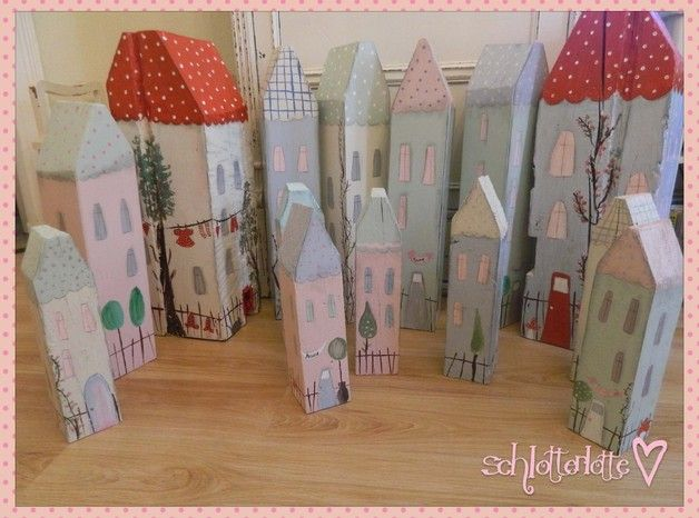 Deko-Objekte - riesiges Holzhaus,pastell 70 cm Tildastil,Shabby 5 - ein Designerstück von mimamai bei DaWanda