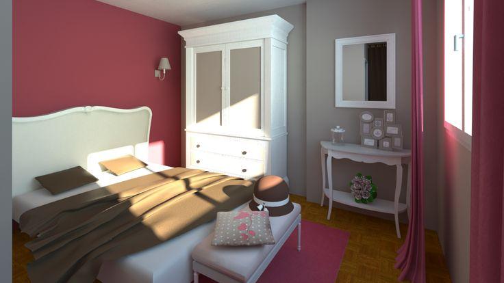 Chambre romantique et moderne. Photo-réalisme de jour.