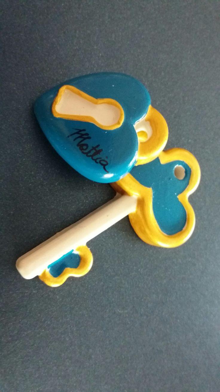 Bomboniera cresima ragazzo gessetto chiave lucchetto blu fatto a mano