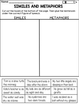 This pack contains activities that will ask students to identify SIMILES and METAPHORS and distinguish between them. Included you'll find:* 2 similes and metaphors worksheets: color the box with the correct figure of speech* 1 similes and metaphors sort : cut and paste the sentences under the correct figure of speech* an assessment page* a similes and metaphors interactive bookletThis product is aligned with the following Common Core standard:Identify Similes and Metaphors ( 4.L.4.5.a and…