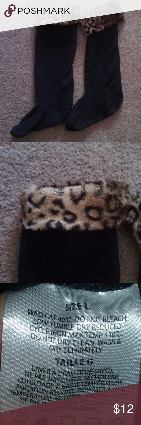 "Chinese Laundry Furry Top Boot Liners Size Large Cute black fold over leopard print furry top boot liners, size large.  For use to keep your feet dry in snow and rain, they do not fit tight to your feet, they are liners. Measure approximately 20.5"" long with top unfolded.   They fit for ladies shoe size 9/10. Chinese Laundry Accessories"