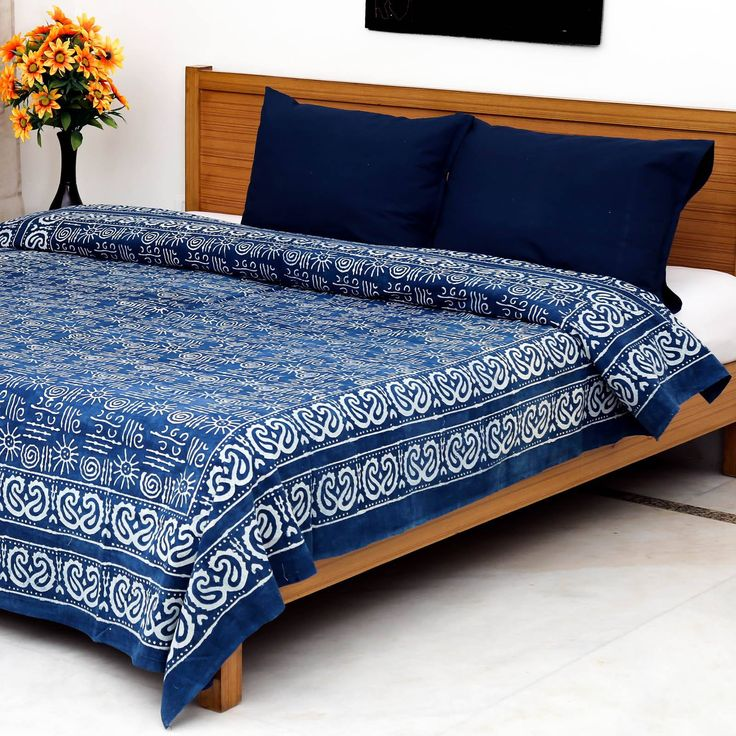 Blue Paisley Ajrak Resist-Dyed & Block Printed Bedsheet with 2 Pillow Covers…