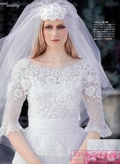 Crochet wedding dress with diagram