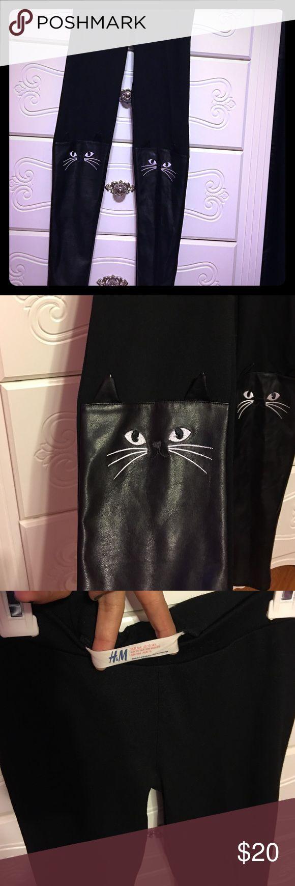 Girl's Black leggings Stylish H&M girl's black leggings with cat face on knees. H&M Bottoms Leggings