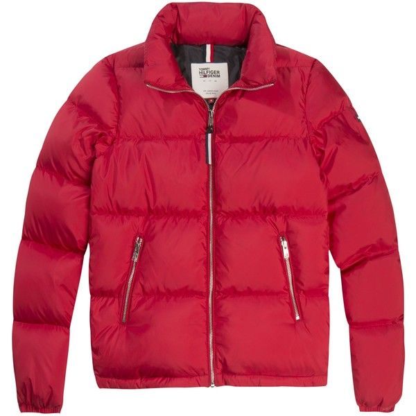Tommy Hilfiger Down Jacket (€130) ❤ liked on Polyvore featuring outerwear, jackets, sale women coats & jackets, zip jacket, zipper pocket jacket, long sleeve jacket, standing collar jacket and red zipper jacket