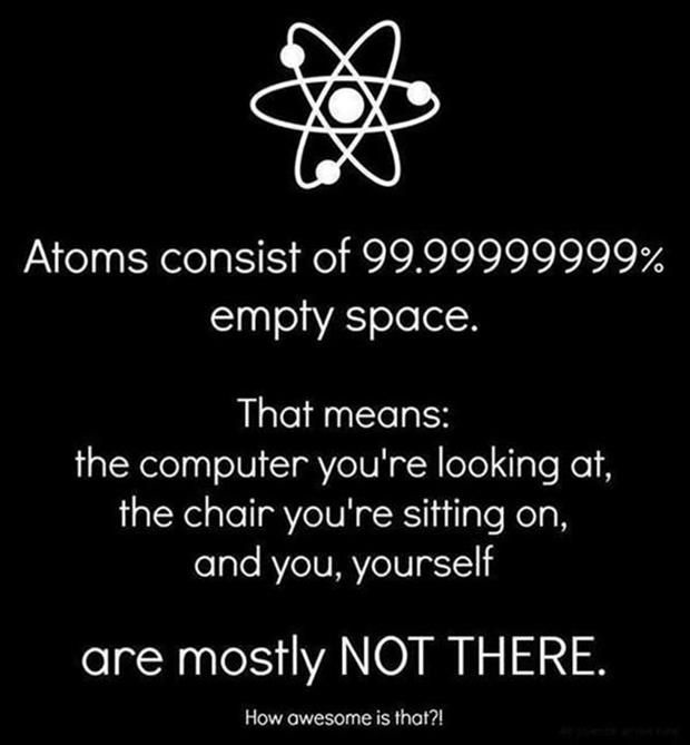 but the electrons in the atoms are moving so fast it basically takes up the empty space in the atoms resulting in them basically a whole.