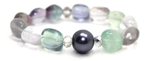 Fluorite, Shell Pearl and Crystals Stretch Bangle Bracelet | AyaDesigns - Jewelry on ArtFire