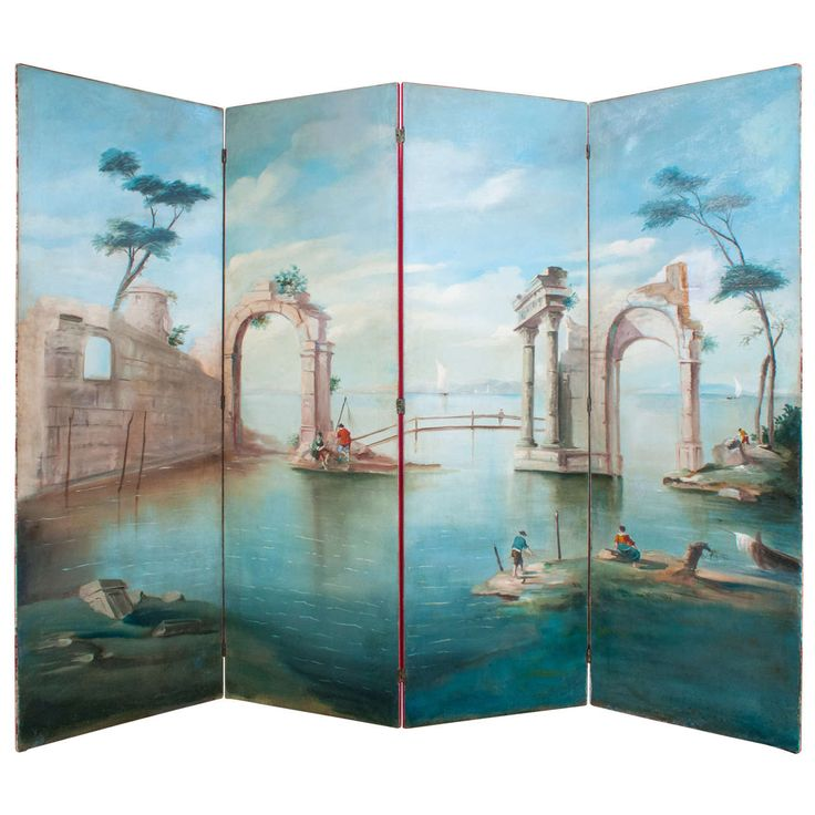 Hand Painted Oil On Canvas 4 Panel Folding Screen 1930 S