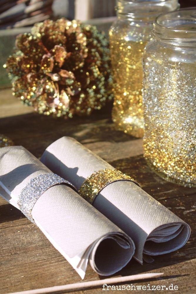 Party Dekoration aus Haushaltsutensilien, die glitzert und glänzt. Einfache DIY Anleitung