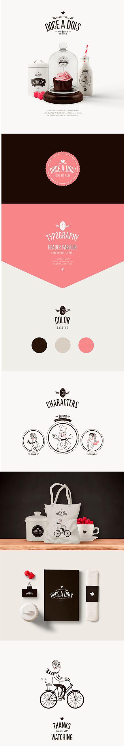1.Começando com um trabalho brasileiro! Uma identidade visual divertida e retrô para uma confeitaria que faz doces para ocasiões especiais. Fonte: https://www.behance.net/gallery/37487685/Doce-a-Dois-Branding-Illustration-Packaging #IdentidadeVisual #Logo #Propaganda #Branding #Creative #TudoMarketing #TudoMkt
